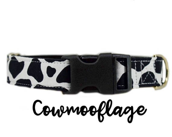 "Cow print Dog Collar: Farm themed buckle collar; perfect for herding dogs; satin lined;  1"", 1.5"", 2"" widths available; plastic buckle"