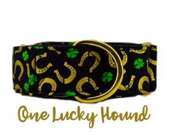 """Martingale Dog Collar: Shamrock, Lucky Dog, Golden Horseshoes; St Patrick's Day; 1"""",1.5"""",2"""" widths available; Brass Hardware; satin lined"""