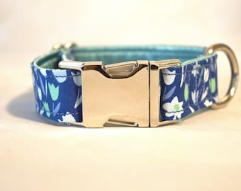 Spring Tulips Floral Buckle Dog Collar: SILVER or PLASTIC Hardware