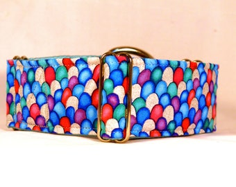 Mermaid Sparkle Martingale Dog Collar: Silver Hardware, Glitter (Rainbow Fish)
