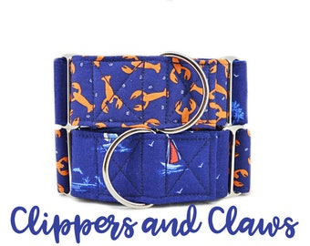 Lobsters and Sailboats Martingale Dog Collar: Blue Nautical two pattern theme; silver hardware; satin lined