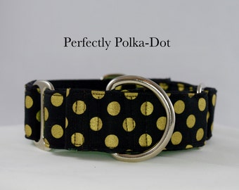 Black and Gold Polkadot Martingale Collar: SILVER HARDWARE