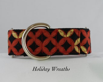 Holiday Wreaths dog Collar: Martingale or Buckle adjustable collar. Red and Gold Wreaths on black background