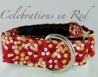 Red and gold  Dog Collar: Available in Martingale or Buckle