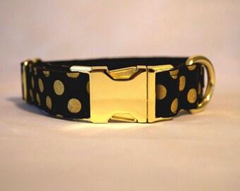 Black and Gold Polkadot Dog Collar: BRASS HARDWARE
