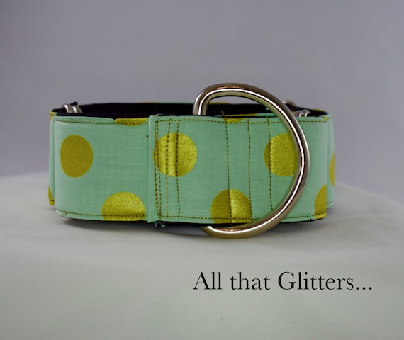 Teal and Gold Polkadot Martingale or Buckle Collar