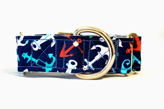 Anchor Nautical Martingale Collar: SILVER HARDWARE