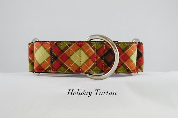 Christmas Tartan Dog Collar: Buckle, Martingale Adjustable dog collar. Plaid Holiday Collar, Gold metallics