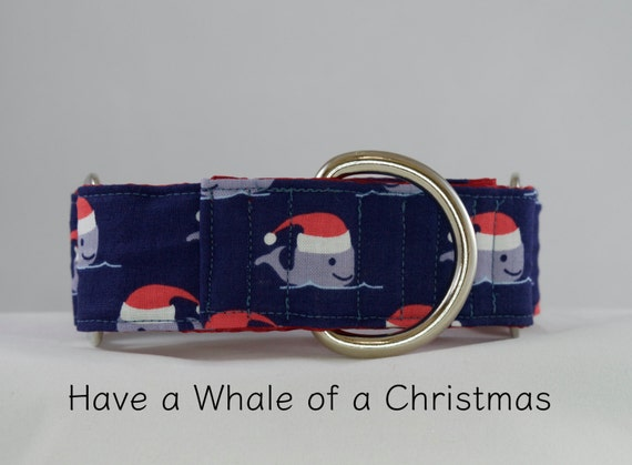 Santa Whales Christmas Dog Collar: Available in Martingale or Buckle Styles. Cute, modern play on christmas collar