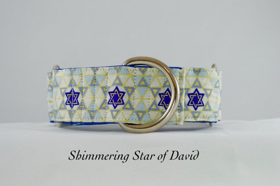 Shimmering Star of David Hanukkah Dog Collar: Available in Martingale or Buckle Adjustable styles