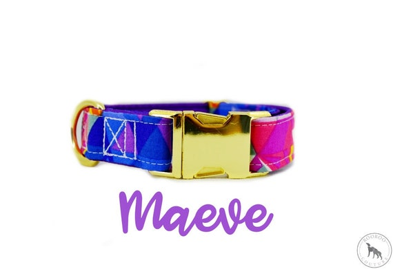 "Brass Buckle Dog Collar: bright geometric purple prism; purple satin lined; adjustable lengths; 1"" , 1.5"" 2"" widths available"