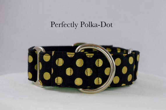 Black and Gold Polkadot Martingale Collar: SILVER HARDWARE