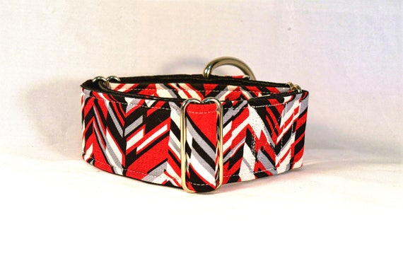 Red and Black Chevron Martingale Dog Collar: SILVER hardware