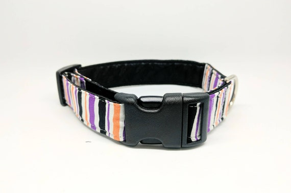 Halloween Dog Collar: Striped Purple, orange and black. Adjustable, buckle style, satin lined