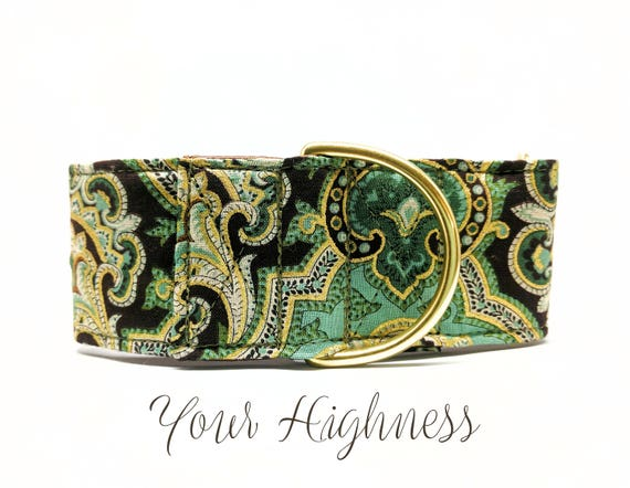 "Martingale Dog Collar: Green, Gold and Brown, Paisley, Brass Hardware; 1"",1.5"", 2"" widths available"