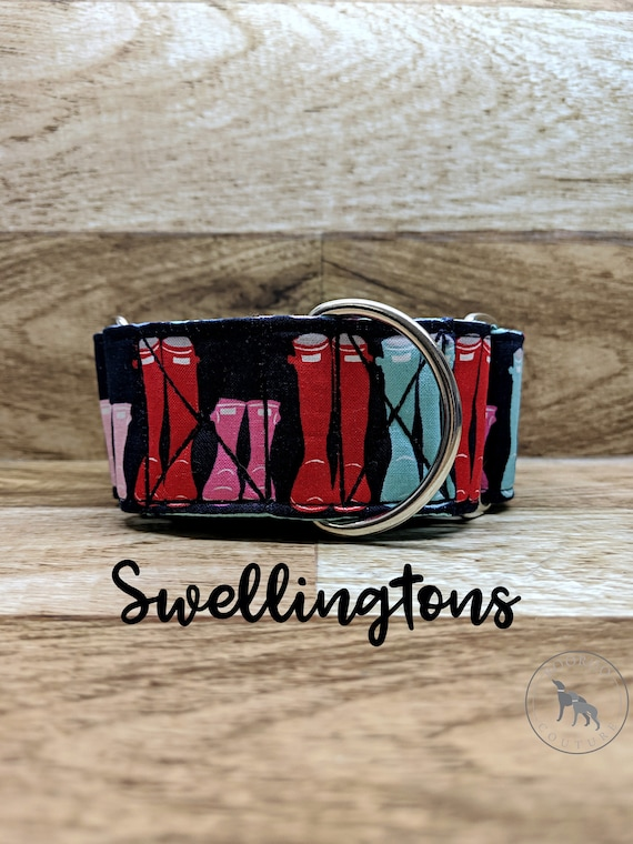 "Wellington Boots Fall 2"" Martingale Dog Collar; teal satin lined; silver hardwares"