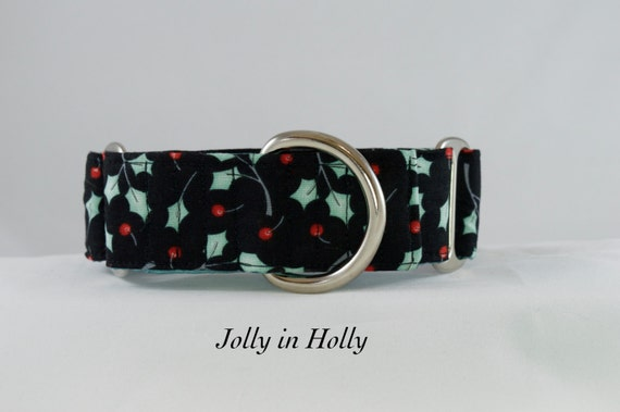 Jolly in Holly Dog Collar: Available in Martingale or Buckle Dog Collar. Christmas, Holiday, Winter Dog Collar.