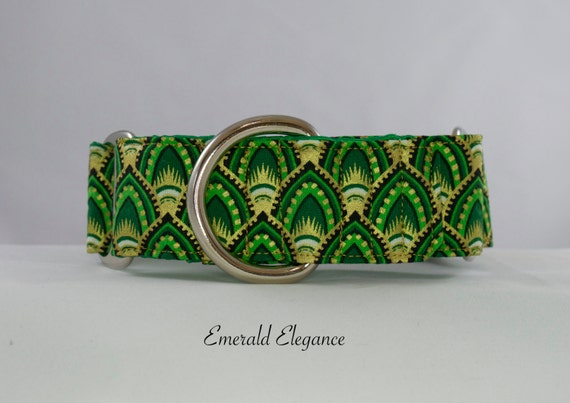 Emerald Elegance Dog Collar: Available in Buckle or Martingale Style. Green and Gold leaf pattern.