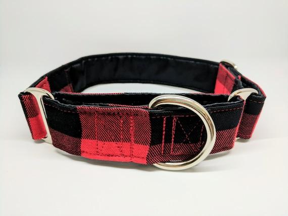 Lumberjack Plaid Martingale Dog Collar: SILVER HARDWARE