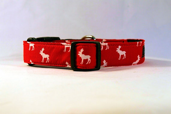 Mini Moose Quick Release Buckle Dog Collar: Canada Day/ Canada 150 Fabric