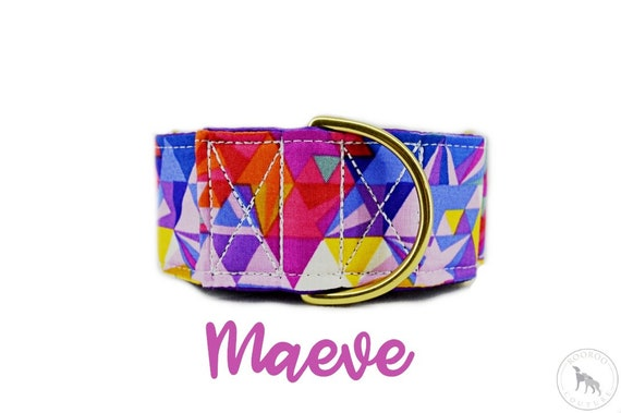 "Martingale Dog Collar: bright geometric purple prism; Brass hardware; purple satin lined; adjustable lengths; 1"" , 1.5"" 2"" widths available"
