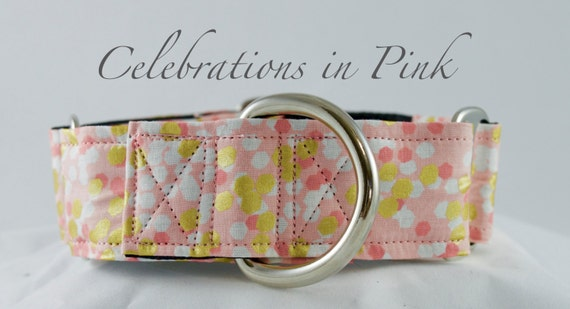 Pink Confetti Dog Collar: Pink, Gold confetti style collar. Available in Martingale or Buckle Style, girly dog collar