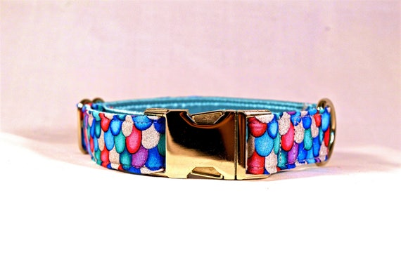 Mermaid Sparkle Quick Release Buckle Collar: Silver Buckle or Black Plastic Buckle Hardware, Glitter (Rainbow Fish)