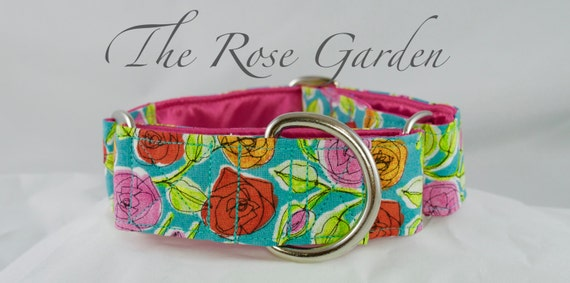 Floral Rose dog collar: available in Martingale or Buckle style adjustable dog collar