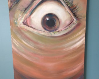 Original Large Oil Painting on Canvas, Eye