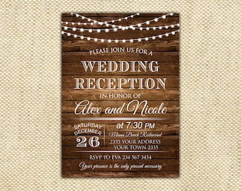 Wedding Reception Invitation Etsy