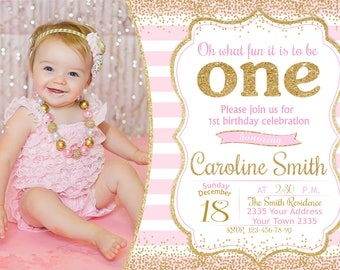 Baby girl invitation etsy 1st birthday party invitation girl first birthday invitation pink and gold girl any age with photo confetti filmwisefo
