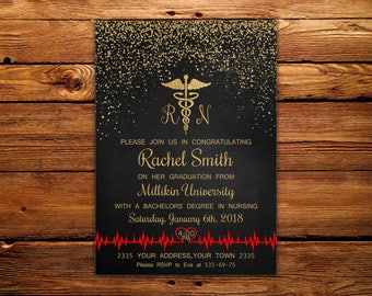 Nursing graduation invitations etsy nursing graduation invitation registered nurse invitation rn invitation licensed vocational nurse gold red invitation chalkboard filmwisefo