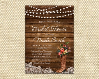 Rustic bridal shower invitation Etsy