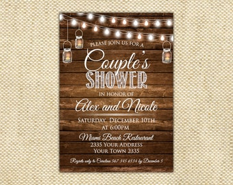 Superior Couples Shower Invitation. Rustic String Lights. Rustic Wood. Bridal Shower.  Holiday Invitation. Wooden Boards.