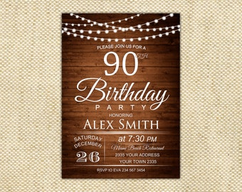 90th Birthday Invitation 80th Wooden Printable Bulbs Lights 40th 50th 60th 70th Any Age