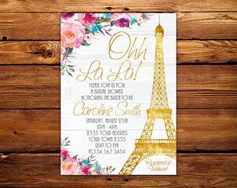 Paris bridal shower etsy paris bridal shower invitation eiffel tower french shower invitation paris themed invitation oh la la french gold eiffel floral filmwisefo