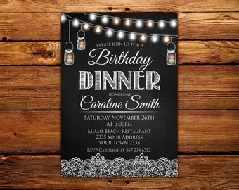Dinner invitation etsy birthday dinner invitation birthday dinner birthday invitation chalkboard printable birthday invitation any age filmwisefo