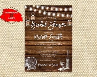 05b4be822f95 Wine Bridal Shower Invitation. Winery Wedding Theme. Rustic Bridal Shower.  Wine Party. Wine Tasting. Vineyard Bridal Shower Invitation.