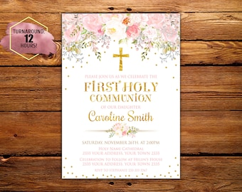 First Holy Communion Invitation. Girl First Communion Invitation. Communion invites. Communion Party. Flowers. Blush, Pink & Gold. Digital.