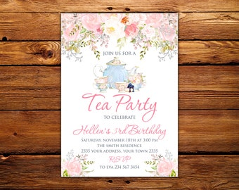 Tea Party Invitation Birthday Invitations Floral Watercolor Blush And Pink Any Age Digital