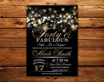 50 and fabulous invitations etsy forty fabulous birthday party invitation black and gold birthday party invitation glitter birthday invitation 30th 50th 60th 70th filmwisefo