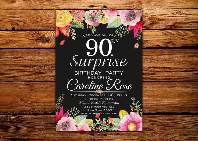 90th Birthday Invitation Surprise Party