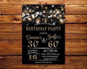 Joint birthday etsy adult joint birthday invitation joint birthday party invitation combined party co birthday stopboris Choice Image