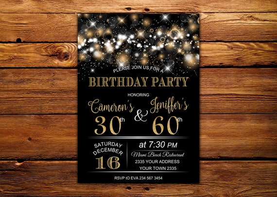 Adult Joint Birthday Invitation Party
