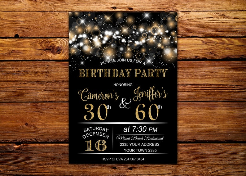Adult Joint Birthday Invitation Party Combined Co Gold Glitter Glam Invite