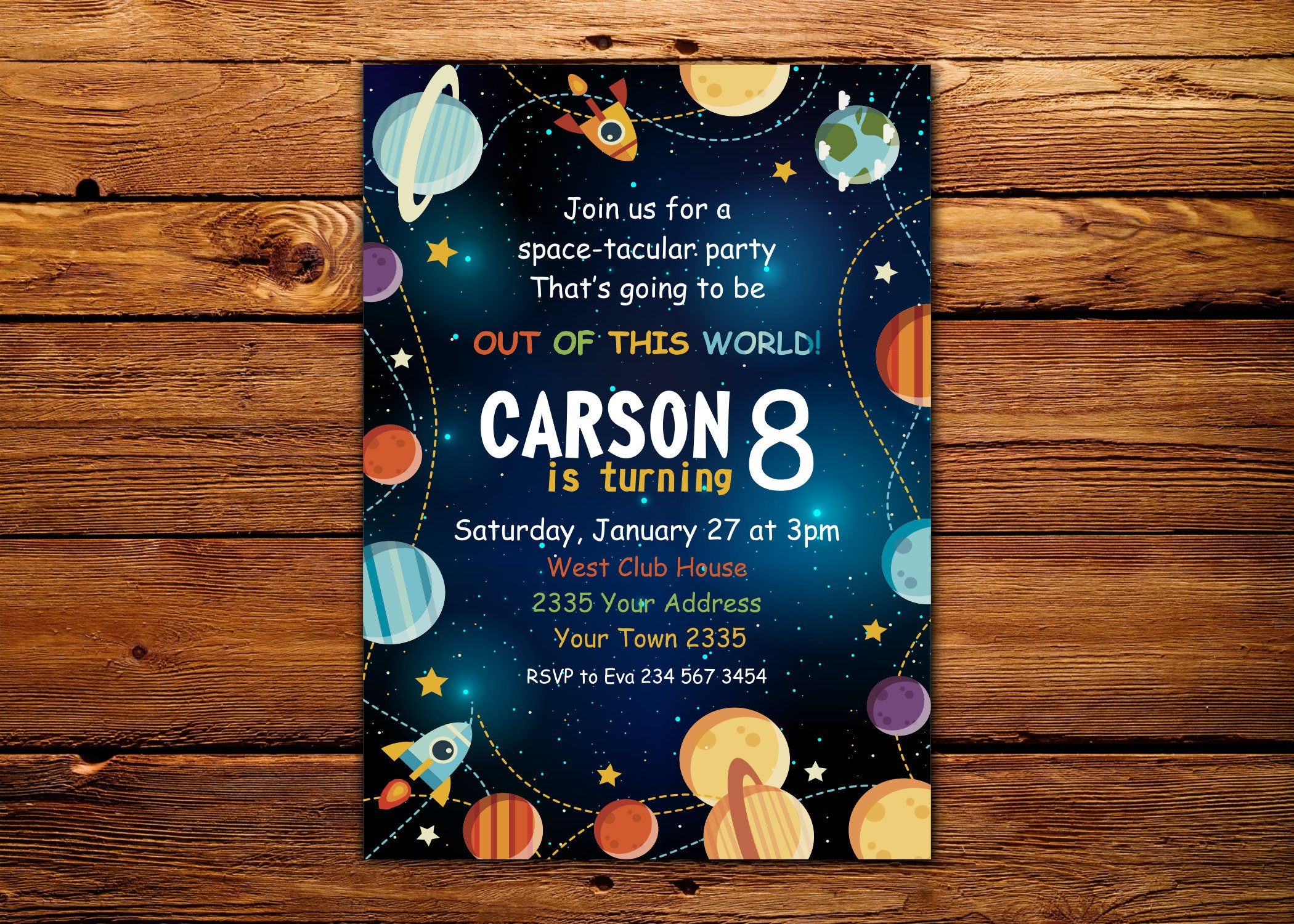 Planet Birthday Invitation Outer Space Invitation Space Etsy