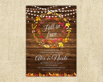 Fall in love Couple Shower Invitation. Falling in Love Couple Shower. Autumn Couple Shower Invitation. Autumn Fall Invitation.