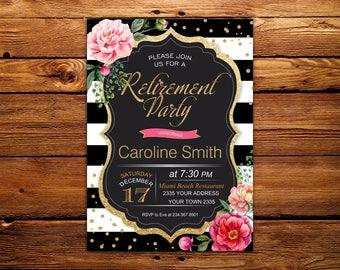 Retirement Party Invitations. Retirement invitation. Retirement Invites. Woman. Elegant. BlackWhite Stripe. Gold Glitter. Floral Retirement.