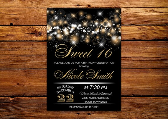 sweet 16 invitation sweet sixteen birthday invite black and etsy