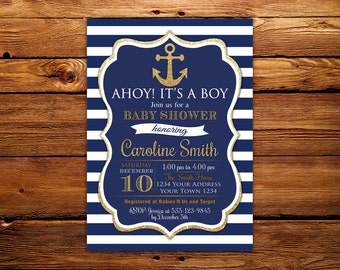 Nautical Baby Shower Invitation. Ahoy Its A Boy. Ahoy Its a Boy Baby Shower Invite. Navy Blue and Gold. Anchor and Stripes.